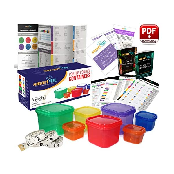 21 Day Portion Control Containers Kit – Nutrition Diet, Multi-Color Coded Weight Loss System. Complete Guide + PDF Planner + Recipe eBook and Tape Measure – BPA Free – 7 PC 51EsjyuD5bL