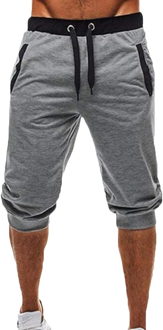 KLJR Men Casual Color Block Loose Drawstring Waistband Shorts Sweatpants with Pockets