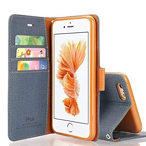 IPHOX iPhone SE Case, iPhone 5S Case, Magnetized Closure Card Slots Money Pouch, Retro Leather Wallet Case Purse Protective Cover Stand Feature Flip Book Case for iPhone 5s/5/SE (Blue)