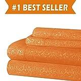 //BEST SELLER//Elegant Comfort Luxurious Silky Soft Coziest 4-Piece Bed Sheet Set Beautiful Design Wrinkle, Orange, King