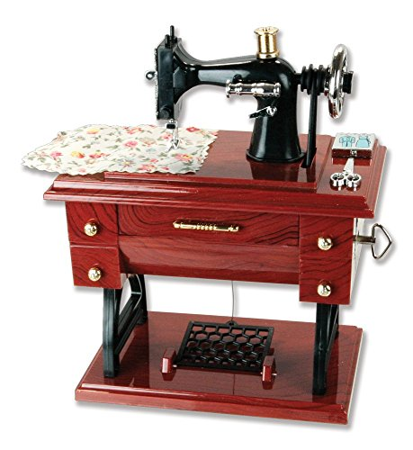 G Ganen Musical Sewing Machine Music Box Vintage Look (Brown-1)