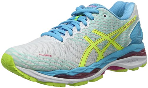 Asics WoMen W S Gel-Nimbus 18 Running Shoes Multicolor (White/Safety Yellow/Aquarium)