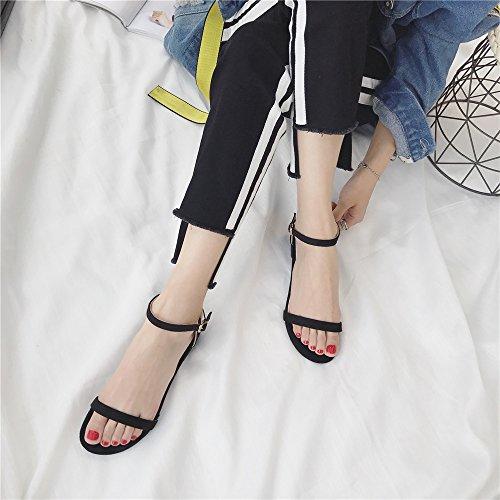 LIVY 2017 verano nuevas sandalias de color sólido simples zapatos abiertos inferiores suaves de las sandalias romanas Sra. Negro