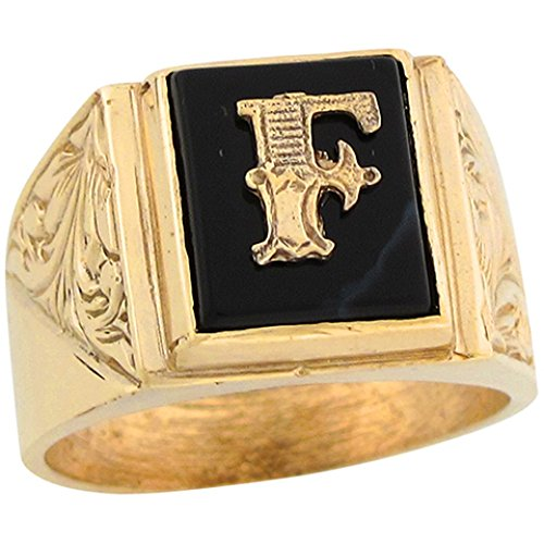 14k Real Gold 12x10mm Rectangle Onyx Letter F Fancy Mens Initial Ring -