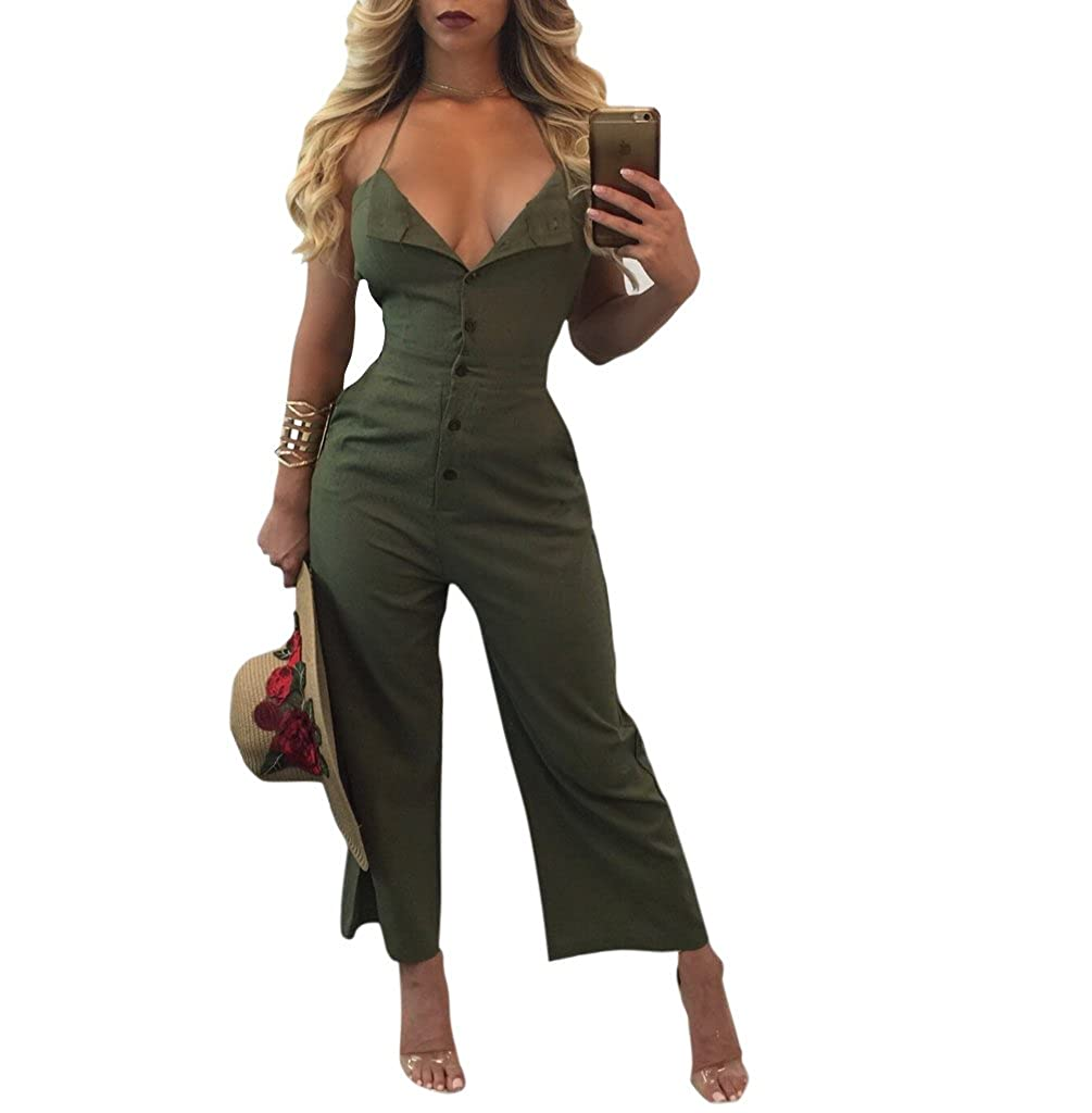 aac4f0c37d6 Amazon.com  Star Han Women Sexy Deep V-Neck Bodycon Condole Belt Bandage  Backless Sleeveless Jumpsuit  Clothing