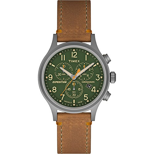 Timex-Expedition-Scout-Chrono-Tan-Strap-Green-Dial-Watch