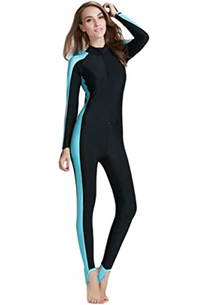 d14528142ce08b One - piece Rash Guard UV Sun Protective Swimsuit for Women Blue, Long Leg  Cover