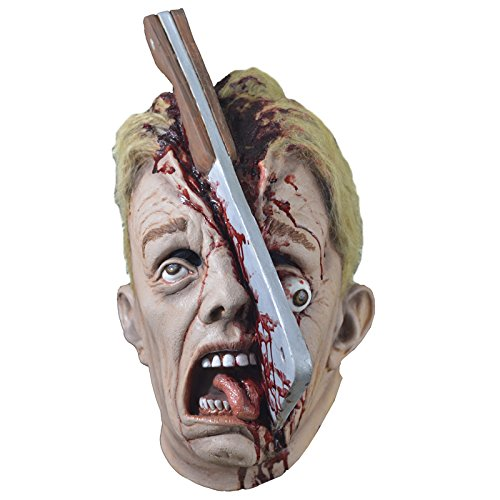 Cleave Mask - Full Face Scary Halloween Mask of a Man With a Hatchet Knife in a Head - Hatchet Face Costume