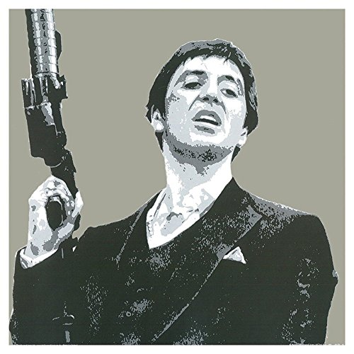 (Scarface Tony Montana Gun in Air Grey - Pop Art Print - 30x30cm)
