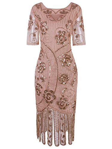 VIJIV Women's Vintage 1920s Style Sequined Beaded Roaring 20s Long Gatsby Flapper Dress with Sleeves for Themed Party, Beige -