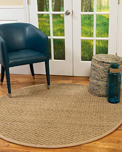 - NaturalAreaRugs Fiber Basketweave Rug, 5' Round, Khaki Border
