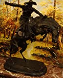 """American Handmade Bronze Sculpture Statue Bronco Buster By Frederic Remington Regular Size 24"""" Inches Tall"""