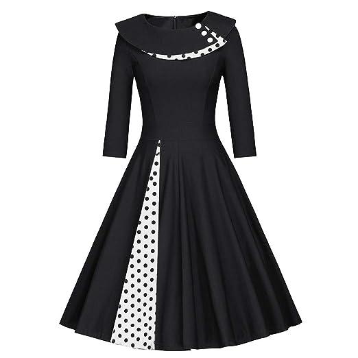 6e017e91df7 Rakkiss Fashion Womens Long Sleeve Vintage Dress O-Neck Retro Dot Print  Patchwork Dress Black