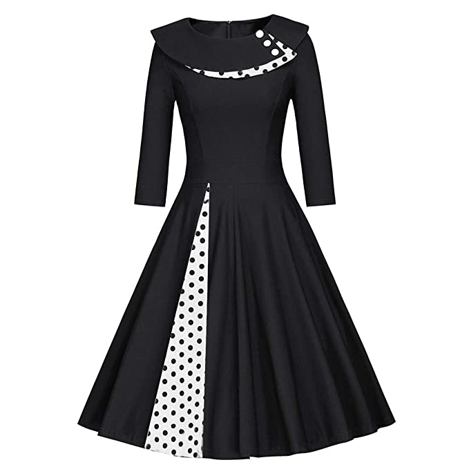 3ff559999b98 Women 50s Vintage Prom Dresses Retro Polka Dots 3/4 Sleeve Rockabilly  Evening Party Cocktail Swing Dress Size 6 8 10 12 14 16: Amazon.co.uk: Baby