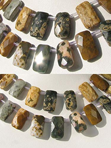 Rectangle Jasper Beads Ocean - Ocean Jasper 18x10x5mm Facet Pendant Bead 8