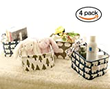 Small Foldable Storage Basket Home Decorative Canvas Box Baskets for Baby Clothing Desktop Sundries Office Supplies Desk Stationery Storage Baskets