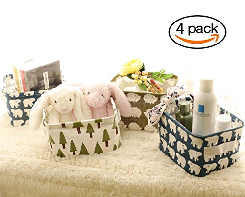 Small Foldable Storage Basket Home Decorative Canvas Box Baskets for Baby Clothing Desktop Sundries Office Supplies Desk Stationery Storage Baskets by Aerial pavilion