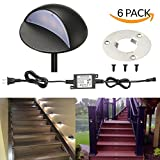 LED Deck Lights Kit, FVTLED Pack of 6 Low Voltage LED Step Stair Lights Φ1.97'' Outdoor Garden Yard Decoration Lamp Recessed Landscape Pathway Step Stair Cool White LED Lighting, Black