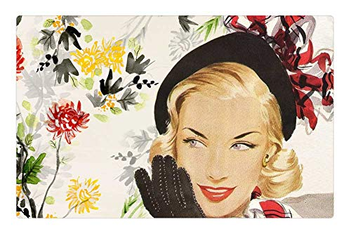 Tree26 Indoor Floor Rug/Mat (23.6 x 15.7 Inch) - Vintage Lady Girl Woman Fifties Hat Glove -