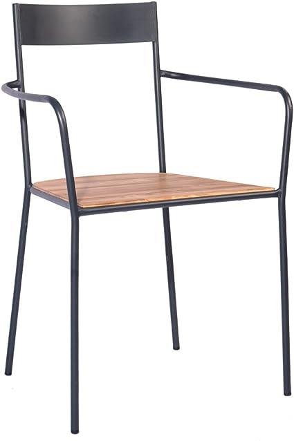 Indhouse Sedia Per Ristorante Loft In Stile Industriale In Metallo E Legno Amazon It Casa E Cucina