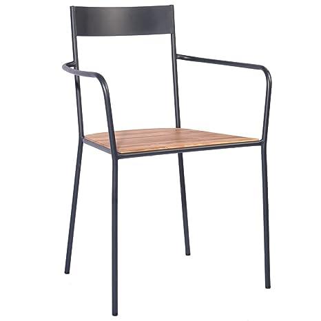 Sedie Metallo E Legno.Indhouse Sedia Per Ristorante Loft In Stile Industriale In Metallo