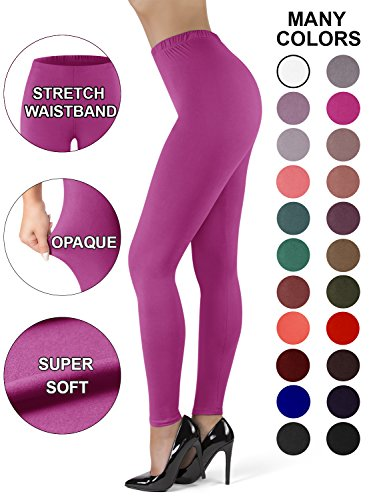 Opaque Pink Tights (Satina High Waisted Leggings for Women | New Full Length w/Stretch Waistband | Ultra Soft Opaque Non See Through (OneSize, Fuchsia))