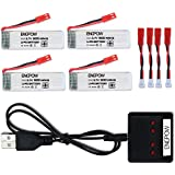 3.7v 500mah Lipo Battery with X4 Battery Charger for UDI U818A U817A U817 U818A-1 RC Drone Quadcopter 4PCS with X4 Battery Charger (Not Compatible for UDI U818A WiFi FPV)