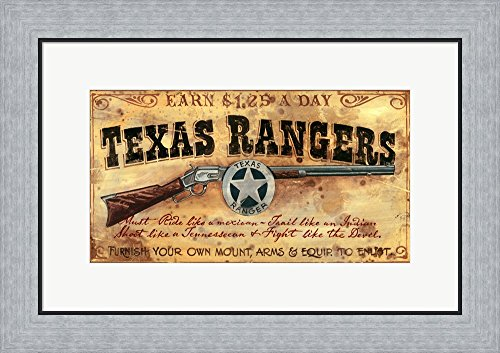 (Texas Rangers by Red Horse Signs Framed Art Print Wall Picture, Flat Silver Frame, 24 x 17 inches)