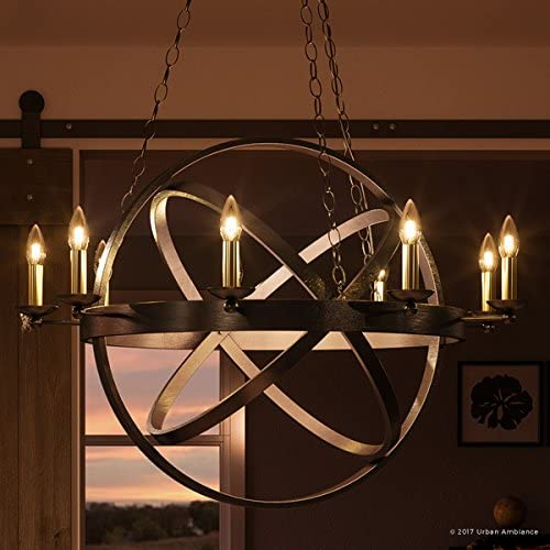 Luxury Vintage Chandelier, Large Size 43 H x 32 W, with Transitional Style Elements, Sphere Design, Brass Accented Elegant Estate Bronze Finish and Exposed Bulbs, UQL2301 by Urban Ambiance