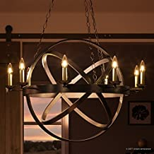 "Luxury Vintage Chandelier, Large Size: 43""H x 32""W, with Transitional Style Elements, Sphere Design, Brass Accented Elegant Estate Bronze Finish and Exposed Bulbs, UQL2301 by Urban Ambiance"
