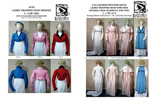 [LM129/130 - 1798-1809 Regency Spencer, Gown, Redingote, & Tunic Pattern by Laughing Moon] (Costume Redingote)