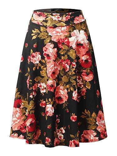 (SSOULM Women's High Waist Flare A-Line Midi Skirt FLORALBLACK 2XL)