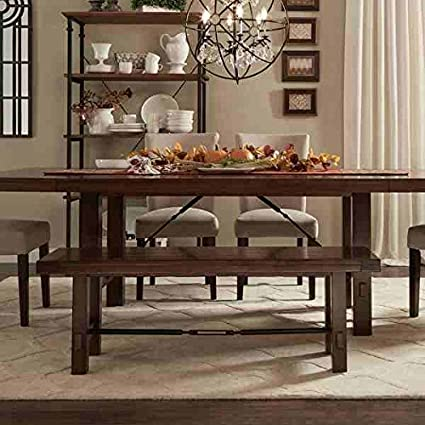 Merveilleux Tribecca Home Swindon Rustic Oak Turnbuckle Dining Bench