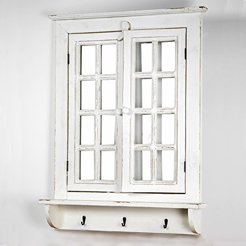 "American Art Decor Window Shutter Wall Vanity Mirror with Key Hooks - Rustic Country Farmhouse Decor (29.5"" H x 22.25"" L x 4"" ()"