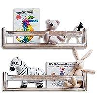 MAINEVENT Set of 2 Rustic Wood Floating Nursery Shelves - Wall Shelves for Farmhouse Bathroom Decor, Kitchen Spice Rack, or Book Shelf Organizer for Baby Nursery Décor