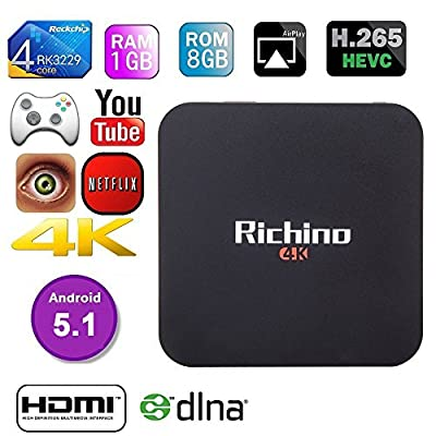 2016 Newest Richino Q1 pro 4K Android TV Box RK3229 1G/8G Quad-core 16.0 Miracast 4K/2K H.265 3D 2.4G WiFi,OTT TV BOX, Update From Q Pro Streaming Media Player, LAN HD USB Dongle