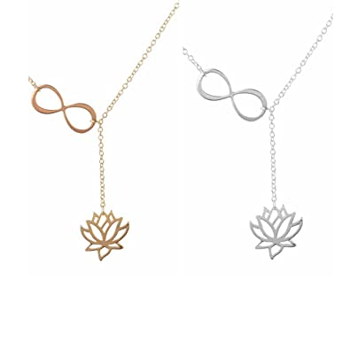Chuyun Number 8 Infinity Lotus Flower Necklace Bridesmaid Gifts