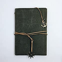 Vintage-looking, Faux-Suede Journal with Nautical Embellishments – String-tie Closure – 8.8 x 5.8-inch – Ideal Diary, Notebook, Planner, or Sketchbook – Compass Embossing