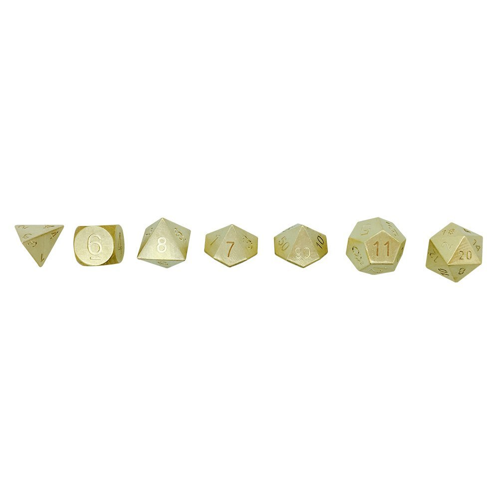 Set Of 7 Brass RPG Dice By Norse Foundry - Special Edition Metals Series- Evenly Balanced, Polyhedral Dice For Dungeons & Dragons, Pathfinder & More-Perfect Gift  by Norse Foundry