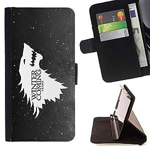 BullDog Case - FOR/Samsung Galaxy S5 Mini, SM-G800 / - / cool wolf eagle winter coming snow funny /- Monedero de cuero de la PU Llevar cubierta de la caja con el ID Credit Card Slots Flip funda de cuer