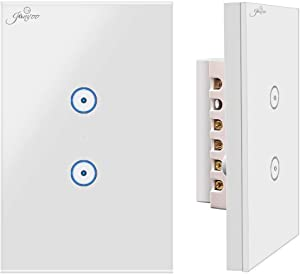 Jinvoo WiFi Smart Wall Touch Light Switch, Smart Phone Remote Control, Compatible with iOS and Android, with Alexa Echo and Google Assistant, ETL Certified(2 Gang)