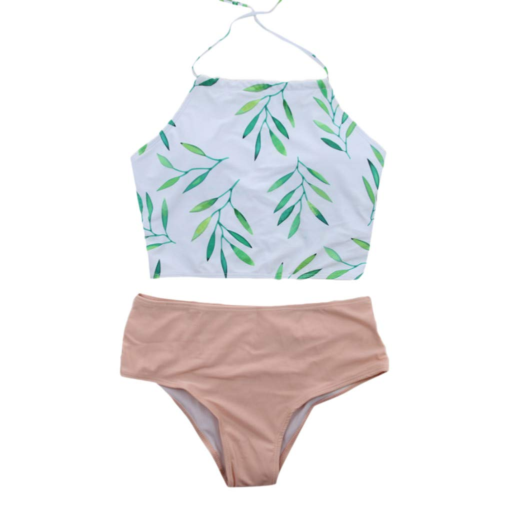 099aec9b2b84c Amazon.com: BabiQ Womens Forest Leaves Printing High Waist High Neck Halter  Bikini Set Beachewear Swimsuit (XL, Green): Kitchen & Dining