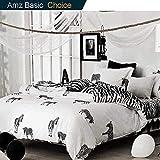 NANKO Queen Duvet Cover Set Fun Zebra, 3 Piece - 1000 - TC Luxury Hypoallergenic Microfiber Down Comforter Quilt Cover Zipper Closure, Ties - Best Organic Modern Style Men Women