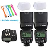 2X Godox TT600 High Speed Sync 2.4G Wireless Camera Flash Speedlite +Godox X1T-C Remote Trigger Transmitter for Canon+2xDiffuer + CONXTRUE USB LED free gift