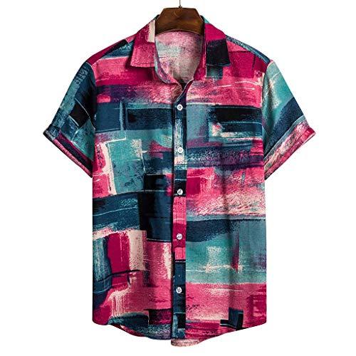 IHGTZS Shirts for Men, Summer Classic Fit Check Non-Iron Dress Shirt Gift for Father Boyfriend Mens Ethnic Short Sleeve Casual Cotton Linen Printing Hawaiian Shirt Blouse Red]()