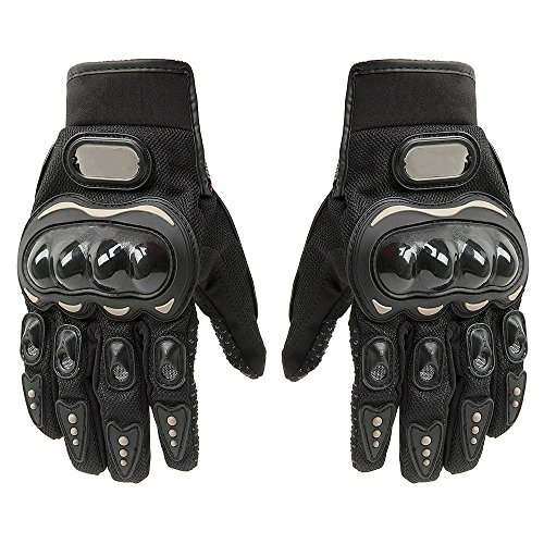 Carbon Fiber Motorcycle Motorbike Cycling Racing Full Finger Gloves XL Black