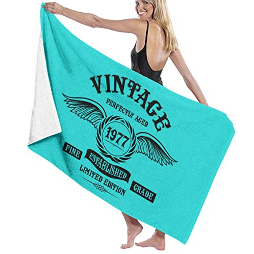 Negi Vintage Perfectly Aged 1977 Microfiber Beach Towels Quick Dry Super Absorbent Towel for Gym