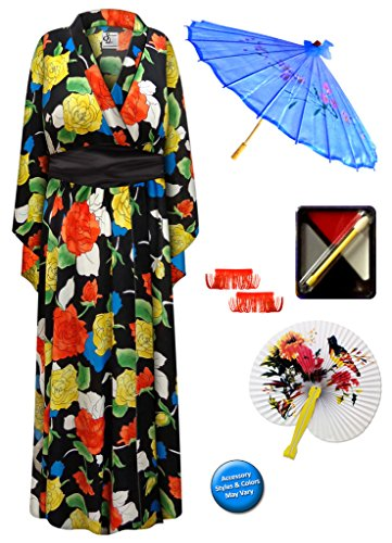 Bright Roses Geisha Robe Plus Size Supersize Costume - Deluxe Kit 1x/2x