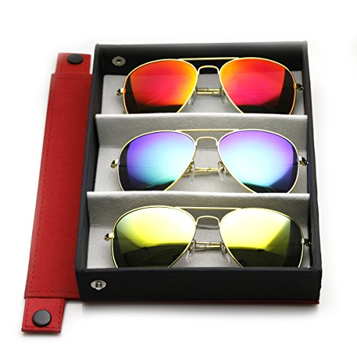 Reds Mixed Case (zeroUV - Premium Flash Mirror Lens Aviator Sunglasses (Nickel Plated Metal Frame) (3-Pack Mixed with RED Deluxe Case))
