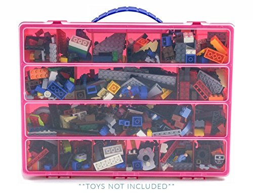 Building Bricks Case, Toy Storage Carrying Box, Figures Playset Organizer
